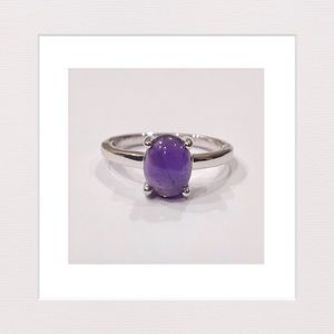 Jewelry - Genuine Amethyst Cab & Sterling Silver Ring | 8